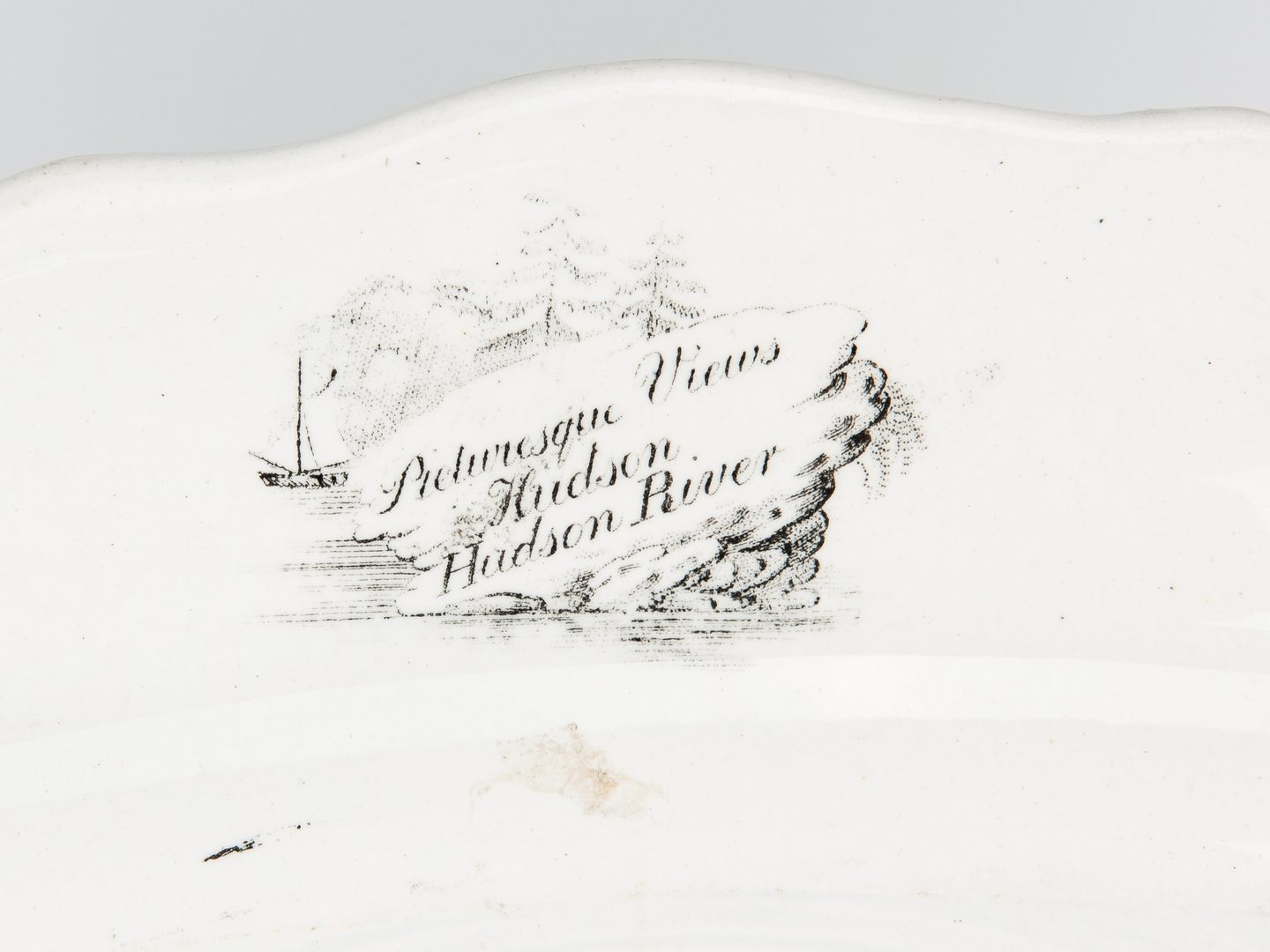 Lot 330: 2 Historical Staffordshire Platters, Hudson River Views