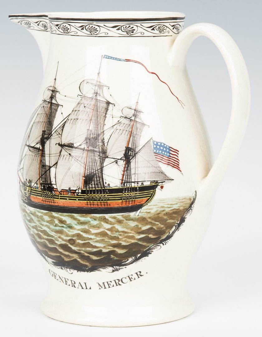 Lot 331: Historical Staffordshire Liverpool Jug, General Mercer