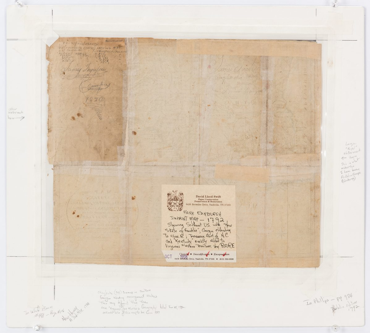 "Lot 337: 18th c. Purcell Map, ""State of Franklin"""