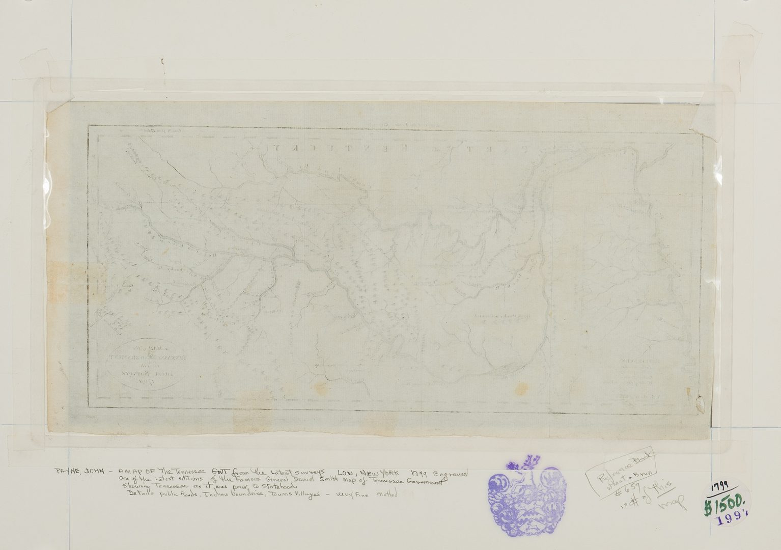 "Lot 338: 1799 Payne/Low Map of ""Tennassee"""