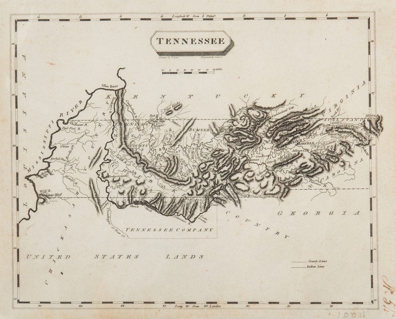 Lot 339: Tennessee Map, Samuel Lewis & Alexander Lawson, 1804