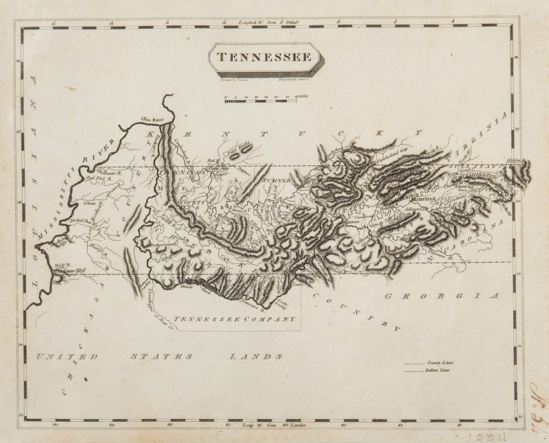 Lot 339: Tennessee Map, Samuel Lewis & Alexander Lawson, 1804