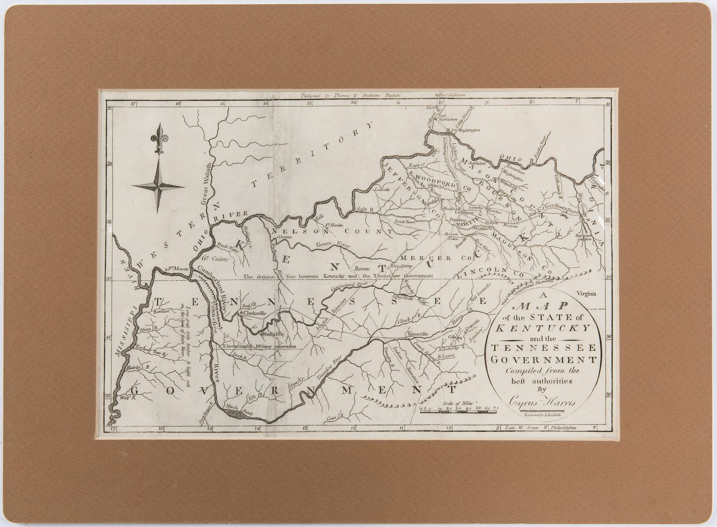 Lot 340: Cyrus Harris KY & TN Map, 1796