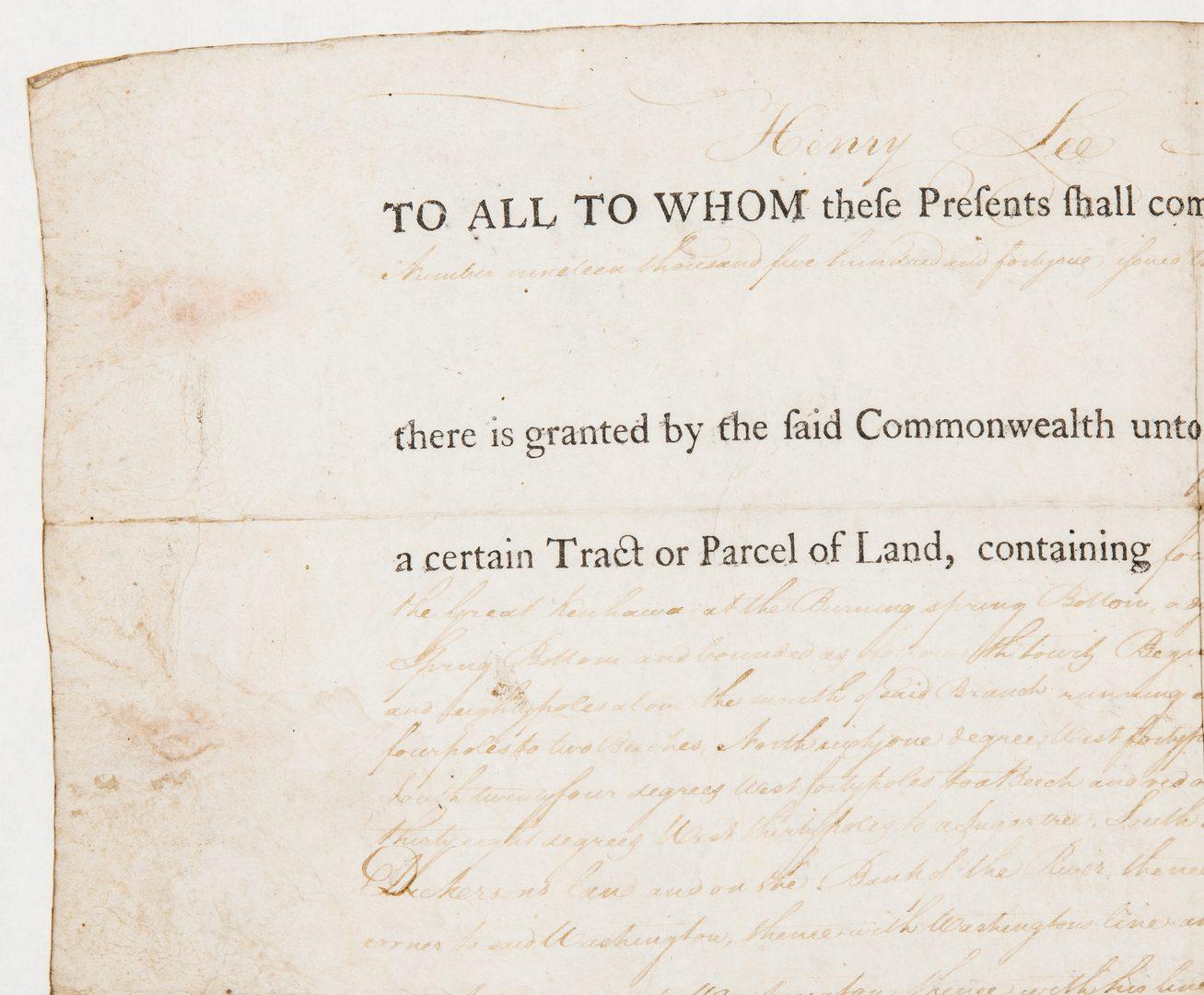 Lot 346: Governor Henry Lee Signed Land Grant, 1792