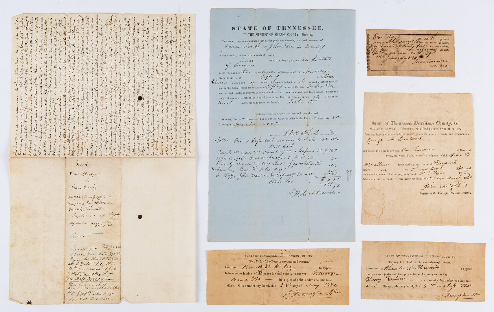 Lot 349: 10 Early TN Documents and Book incl. Governor Signed