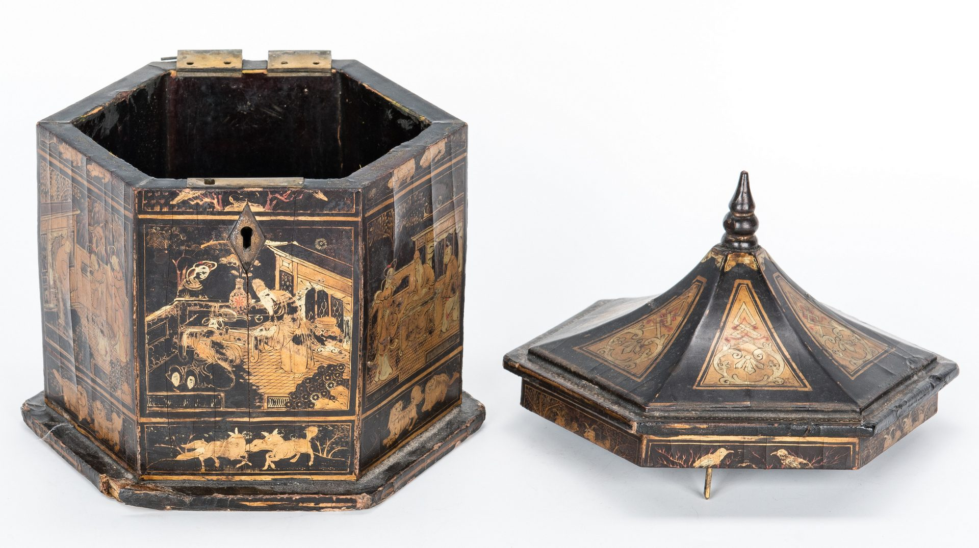 Lot 34: 3 Asian Decorative Items inc. Tea Caddy