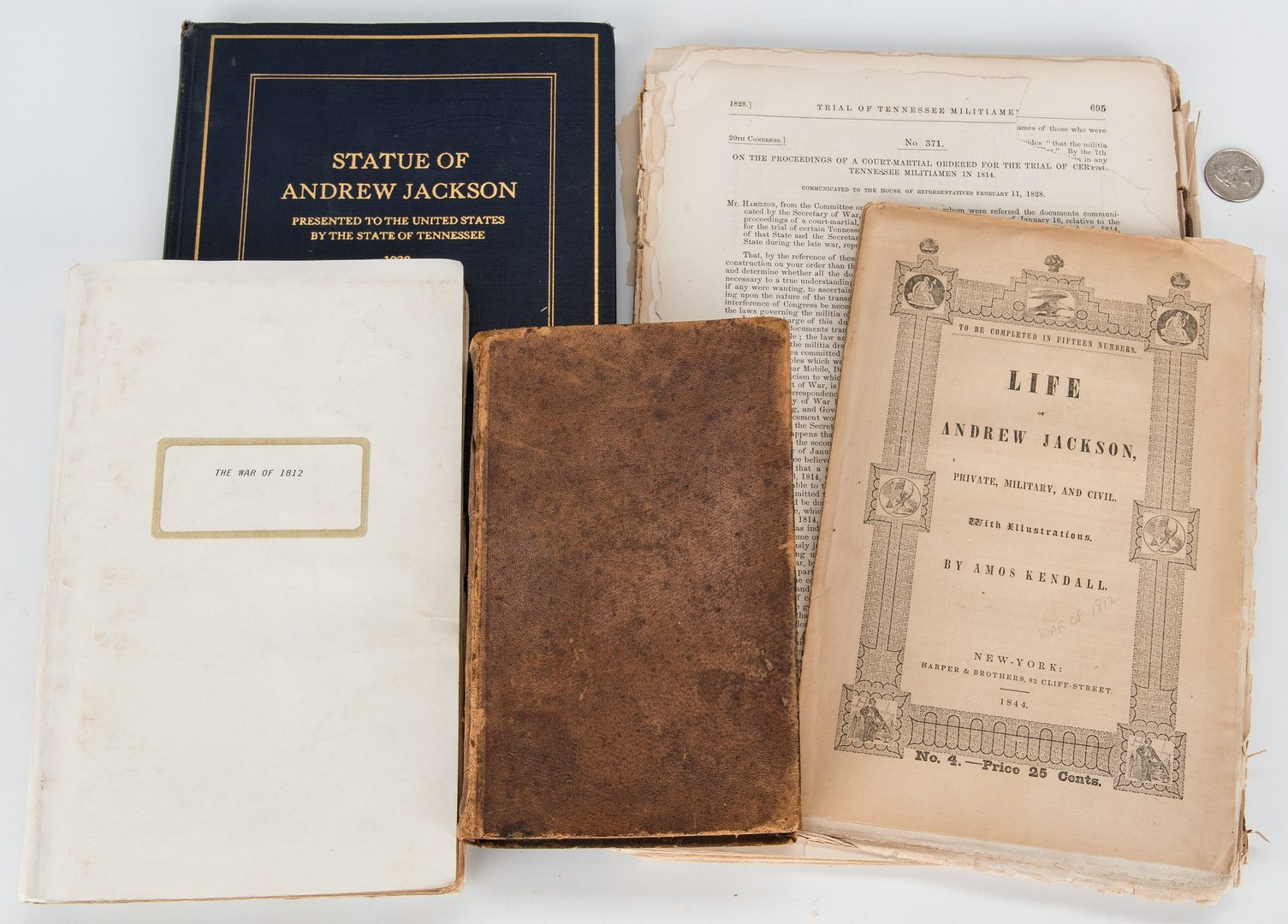 Lot 351: 5 Books/Documents Related to Andrew Jackson and War of 1812