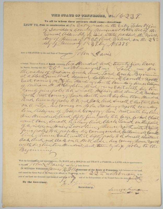 Lot 353: James K. Polk Signed Davidson County TN Land Grant