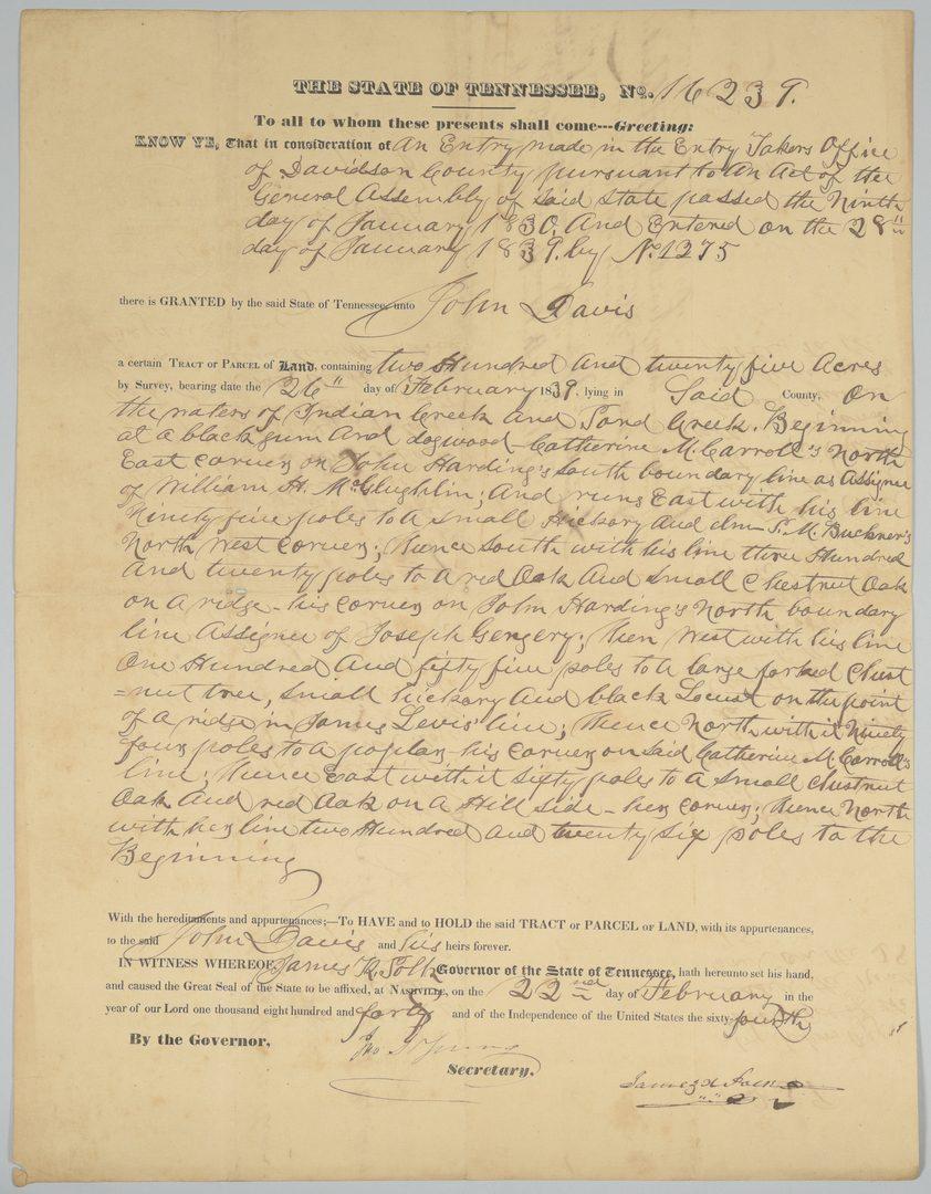 Lot 353: James K. Polk Signed Davidson County TN Land Grant