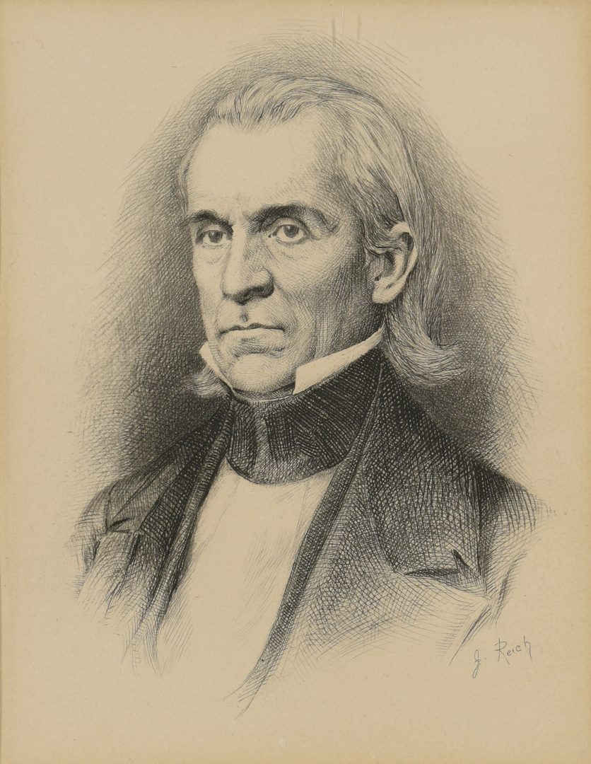 Lot 354: Pres. James K. Polk Signed Certificate of Merit and Etching