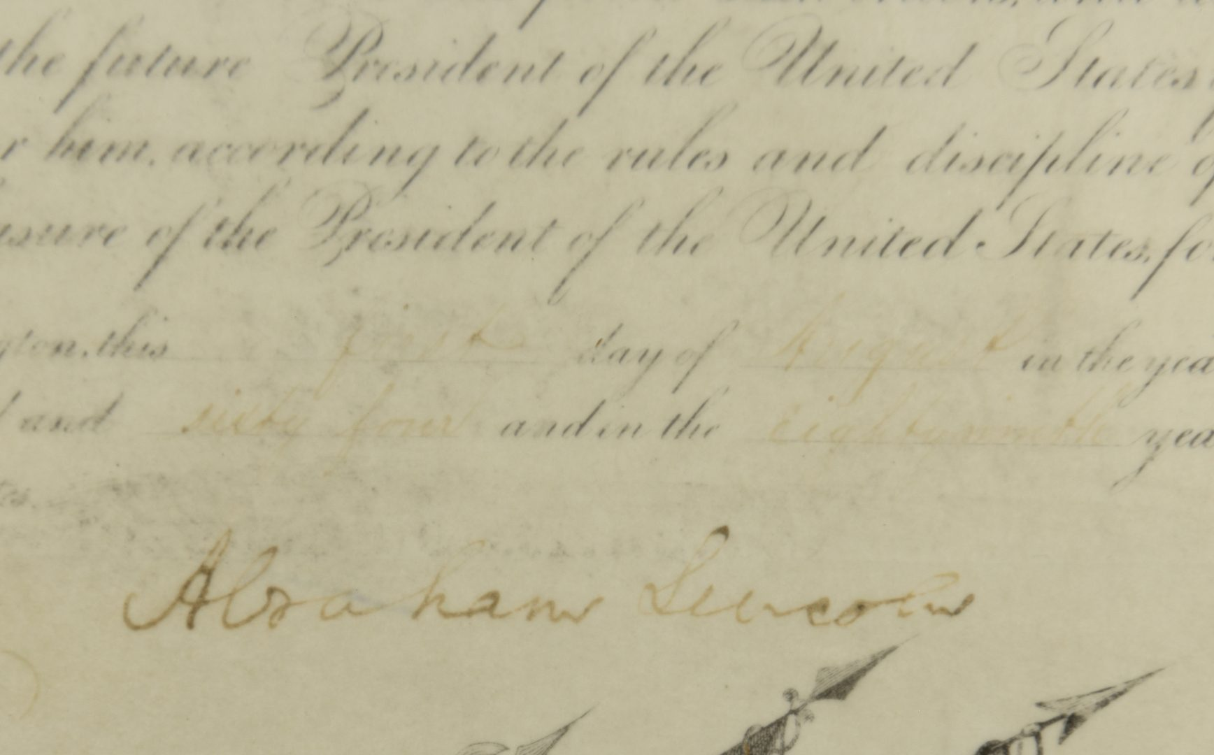 Lot 356: Abraham Lincoln Signed War Commission Document