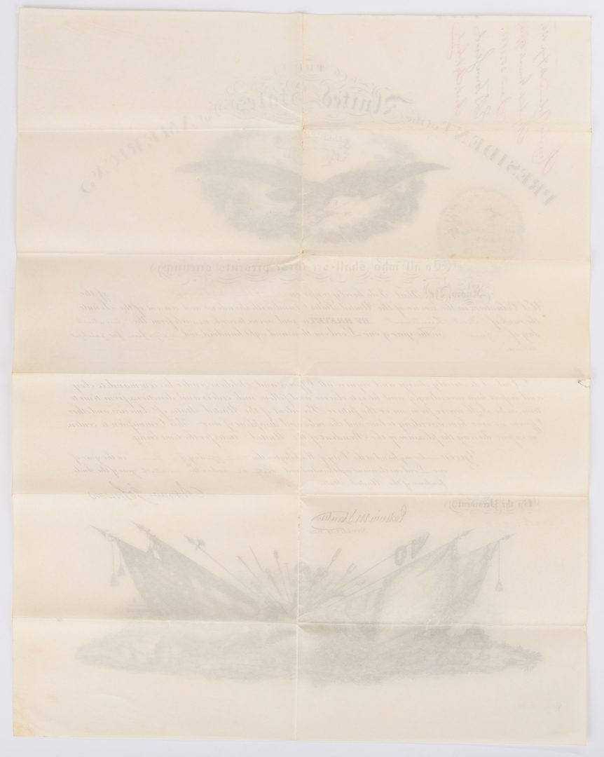 Lot 357: Andrew Johnson War Commission Document