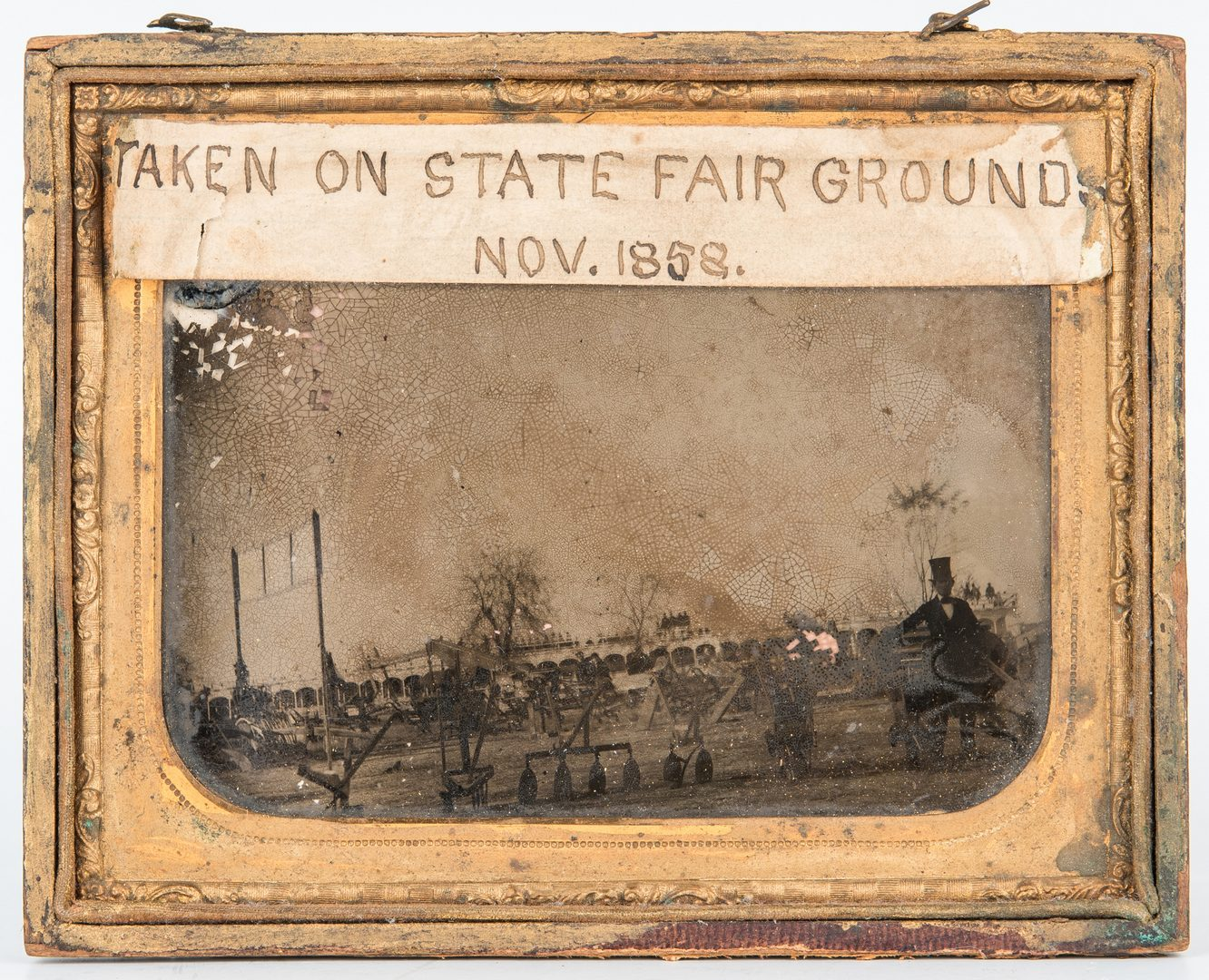 Lot 358: 1850s State Fair Ambrotype, Man in Stovepipe Hat