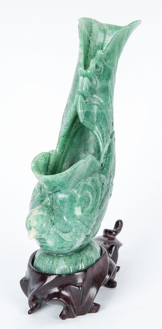Lot 35: Jade Brush Holder, 2 Hardstone Figurals and Stone