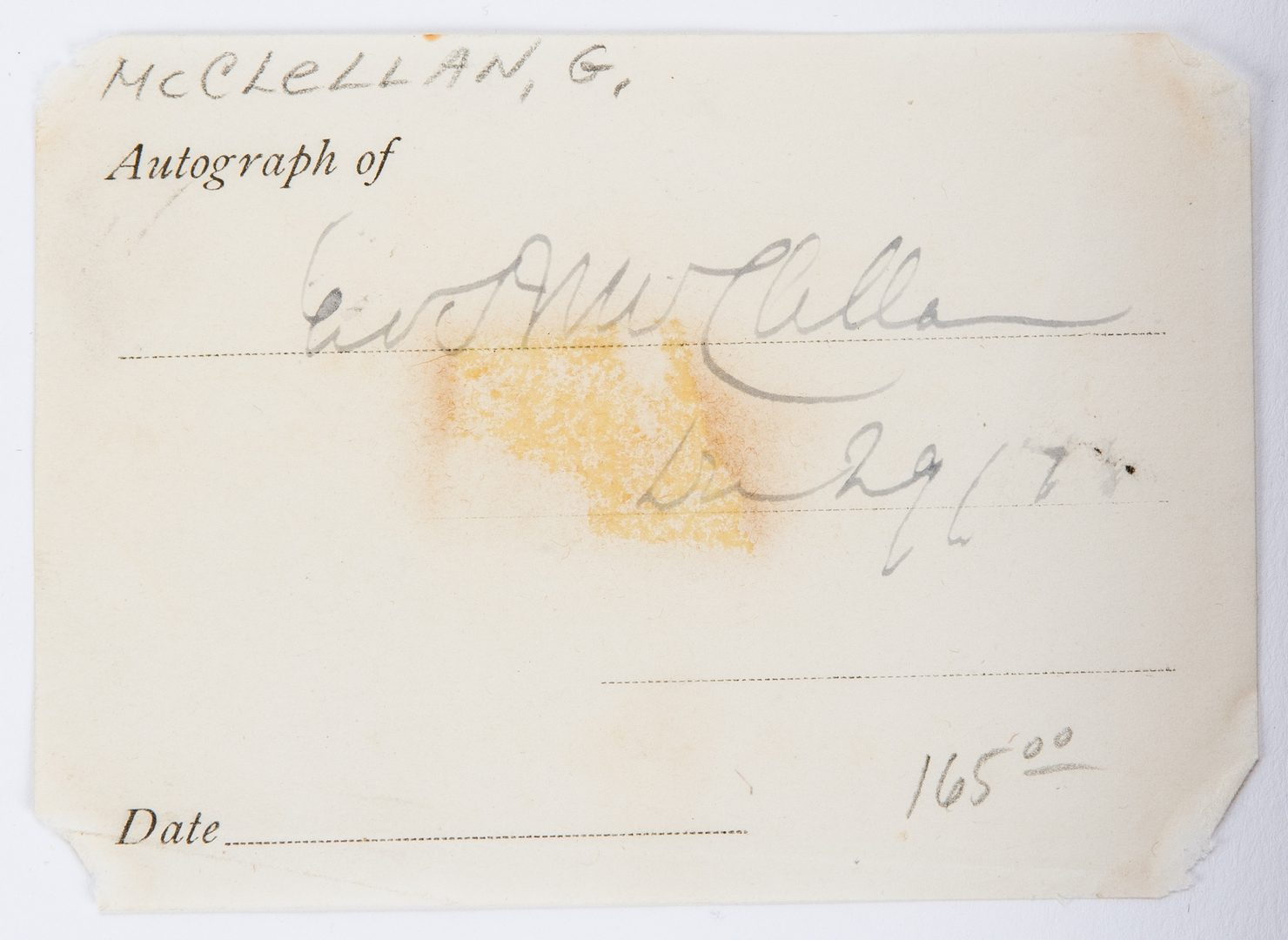 Lot 360: Civil War Ephemera incl. Generals' Signatures