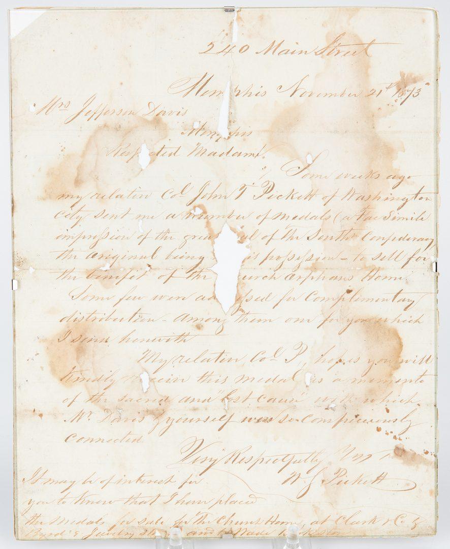 Lot 361: Confederate Seal, ALS – Col. Pickett, Varina Davis related