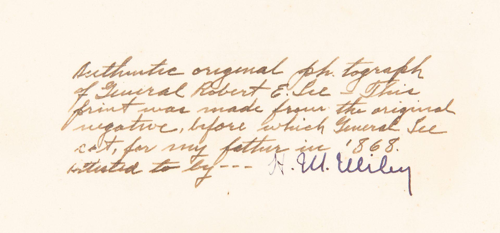 Lot 363: Robert E. Lee Photograph, Miley & Son