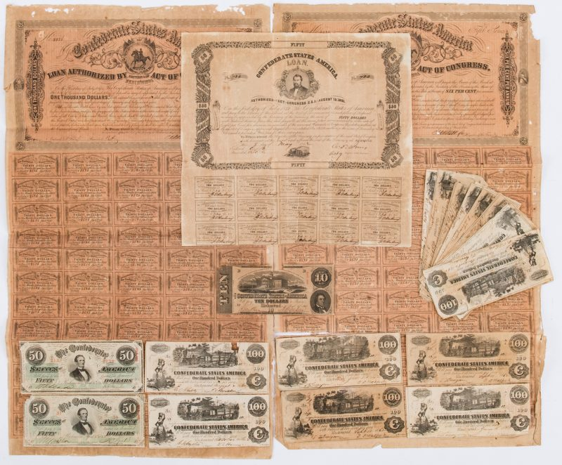 Lot 364: Civil War Banknotes and Bonds, 19 items