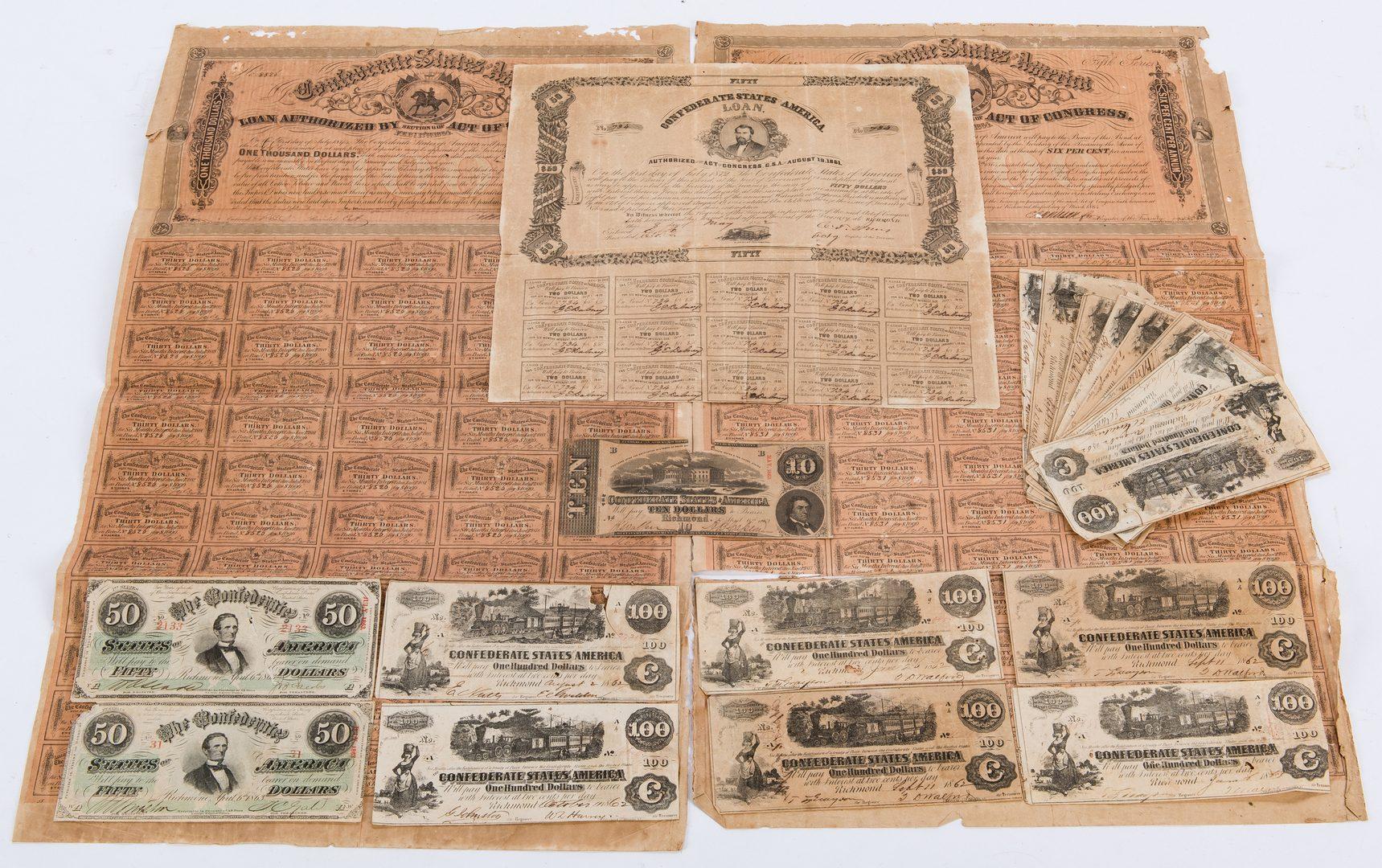 Lot 364: Civil War Banknotes and Bonds, 19 items