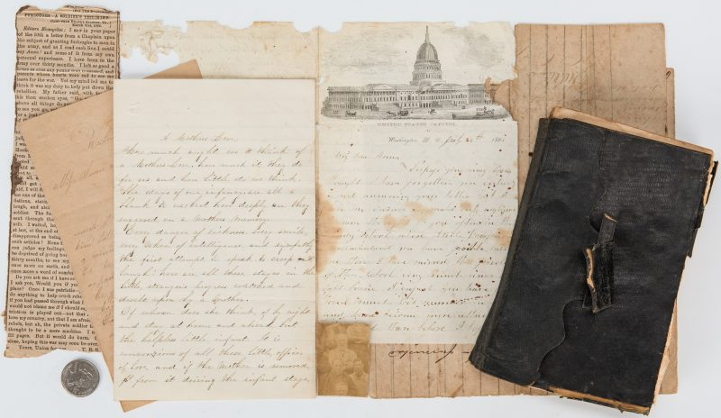 Lot 365: Civil War Archive incl. Soldier Diary, Ewell Signature