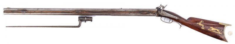 Lot 375: Inlaid O/U rifle plus TN Bayonet