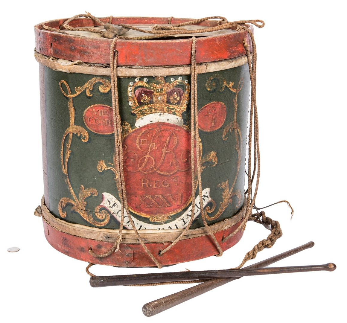 Lot 379: George III Regimental Drum and sticks