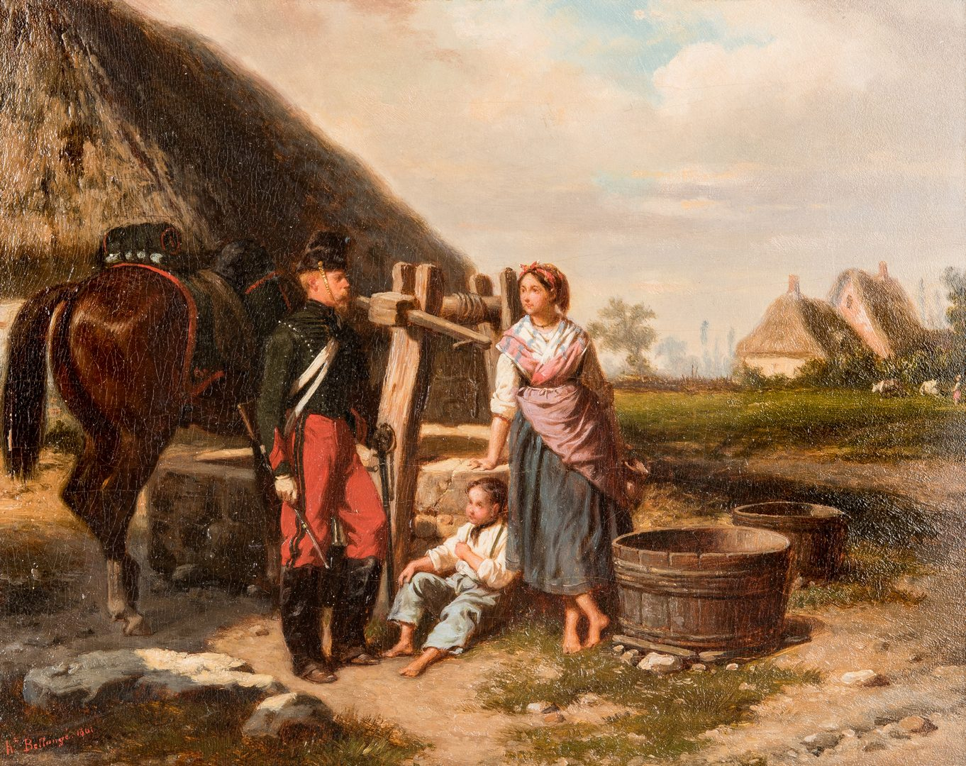 Lot 383: J.L. Hippolyte Bellange painting – Soldier At The Well