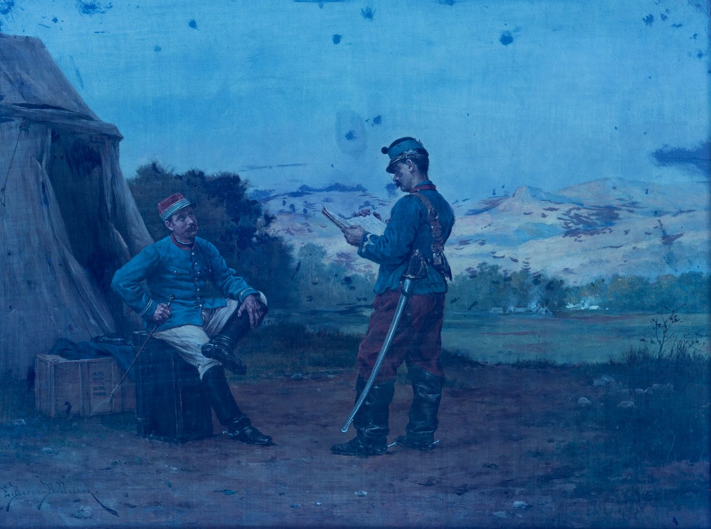 Lot 384: E. Berne-Bellecour Military Oil, Two Soldiers