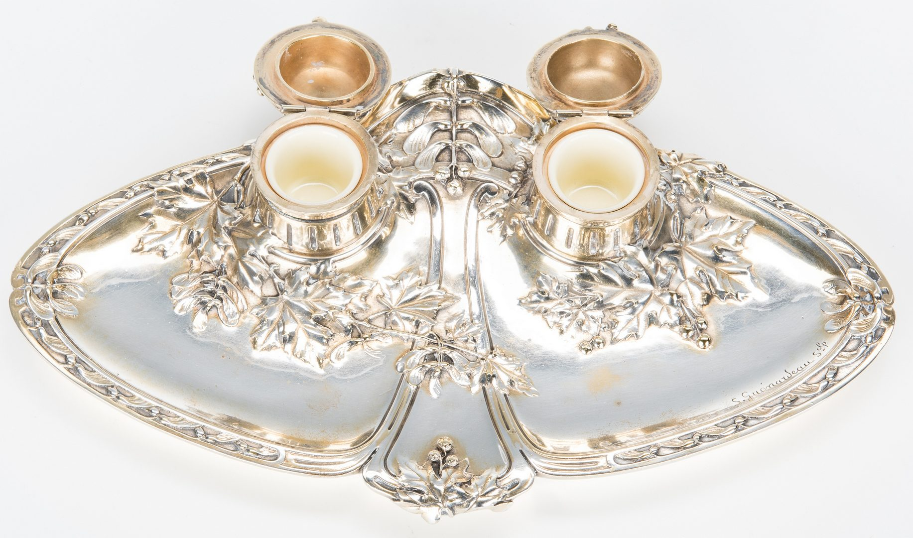 Lot 388: 2 Art Nouveau French Inkwells, signed