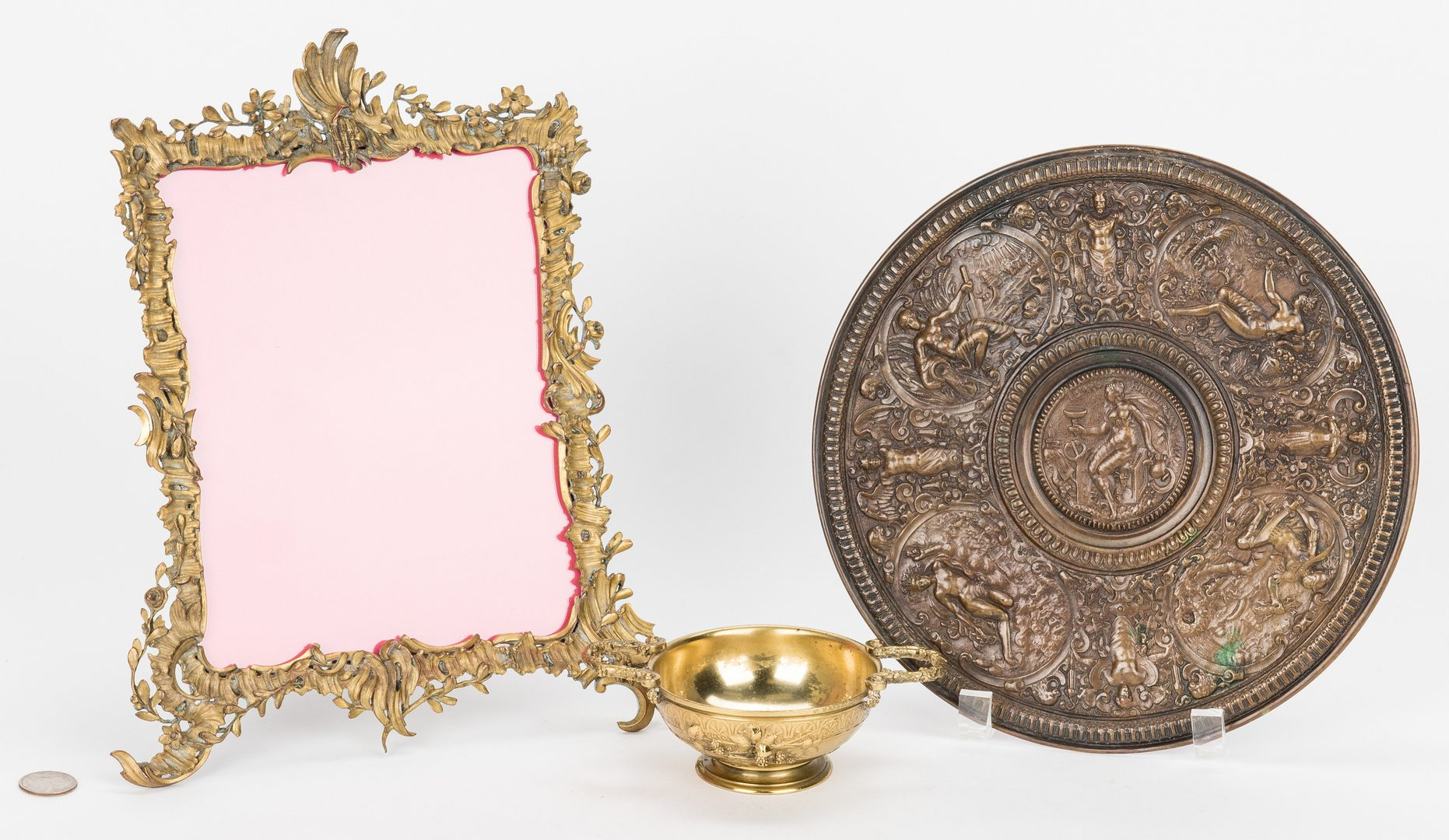 Lot 389: 3 Bronze Items, incl. F. Barbedienne Cup