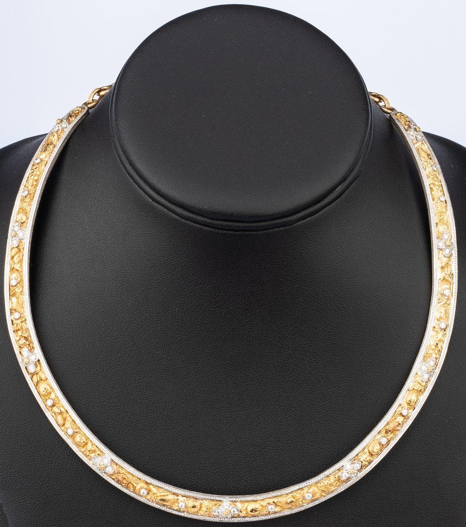 Lot 38: F. Buccellati 18k Dia Collar Necklace