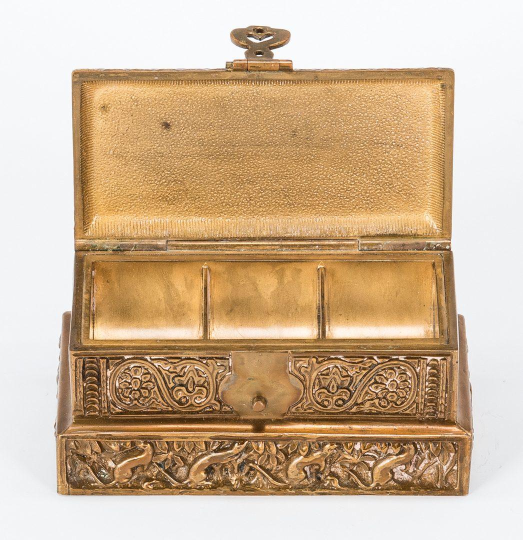 Lot 390: Tiffany Gilt Bronze Stamp Box