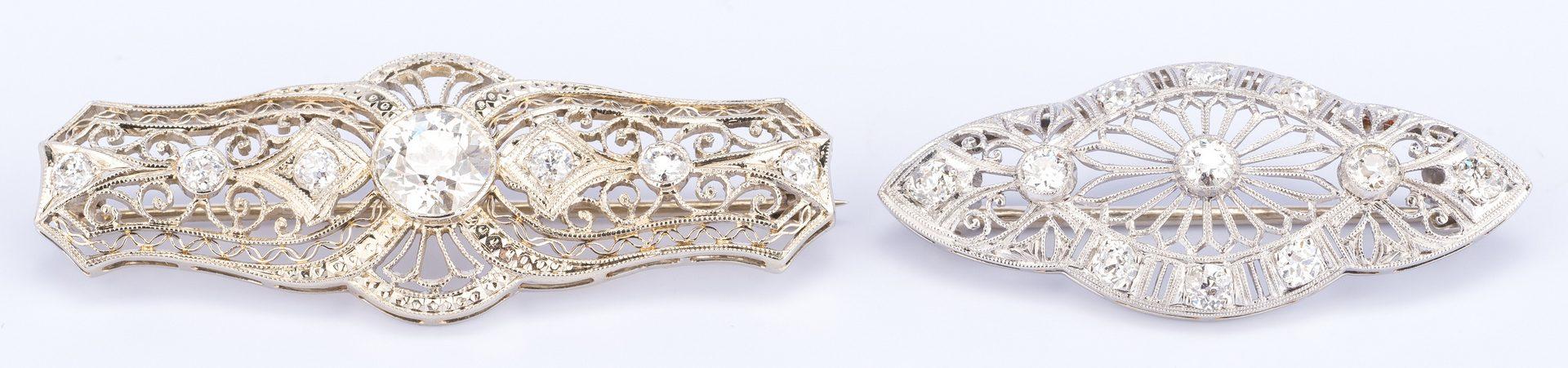 Lot 392: 2 Edwardian Pins, 1 w/ 1.50 ct OMC center diamond