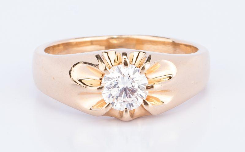Lot 393: 14K Gents One carat Diamond Ring