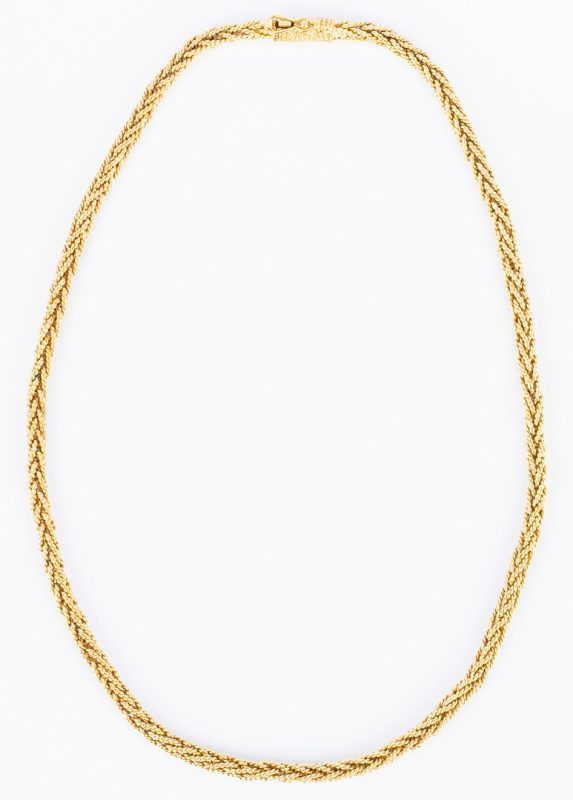 Lot 396: 18K Wheat Chain Necklace, 36 grams