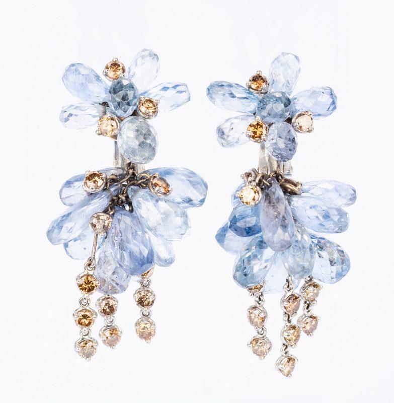 Lot 399: 18K Sapphire & Brown Dia Drop Earrings