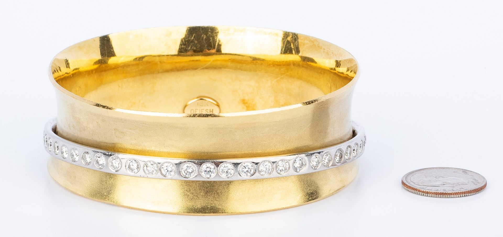 Lot 39: 18K Ofiesh Platinum Diamond Bangle