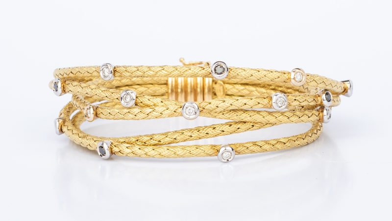 Lot 400: Italian 18K Satin Rope Diamond Bracelet
