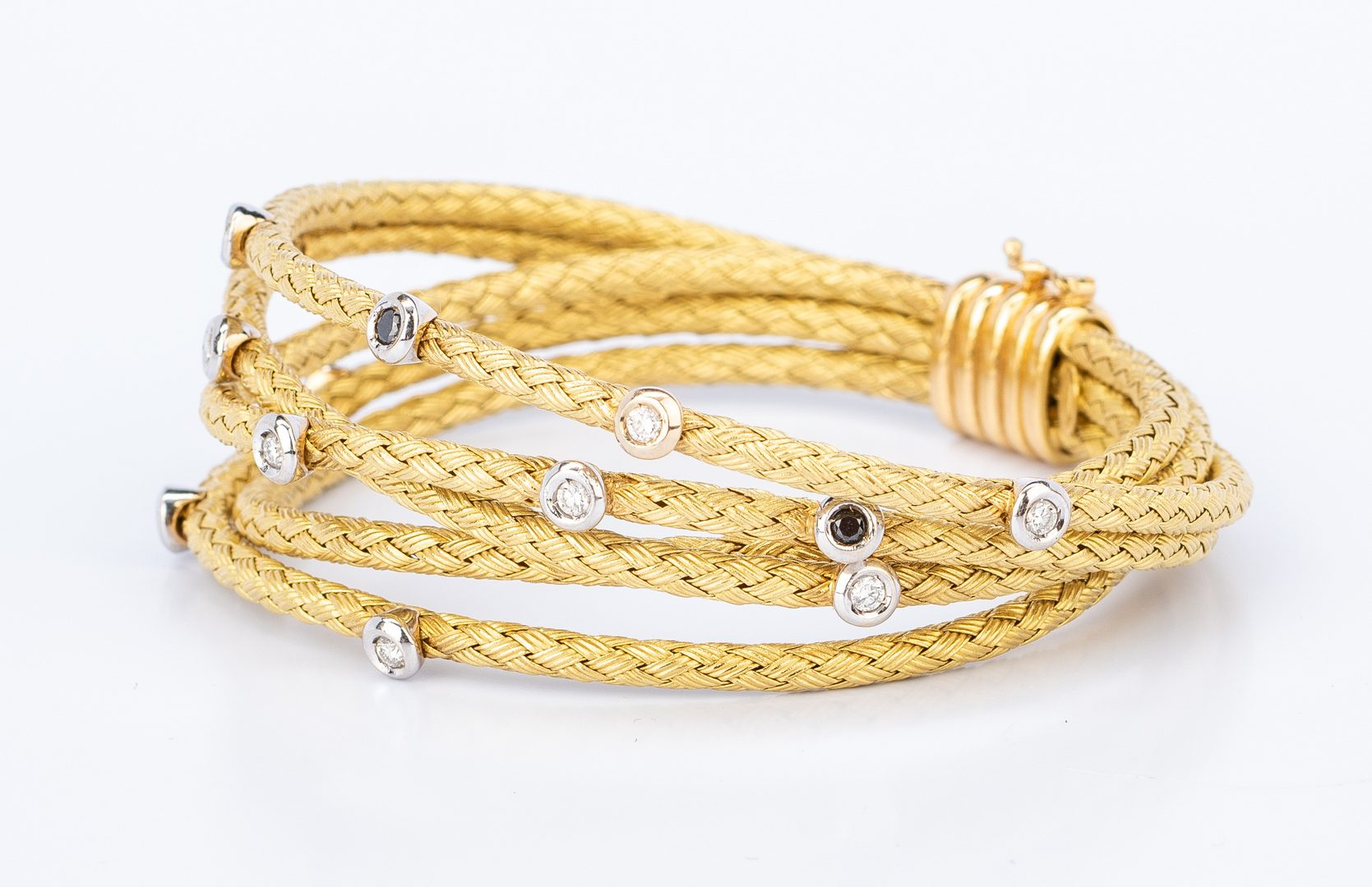 Lot 400: Italian 18K Satin Rope Diamond Bracelet