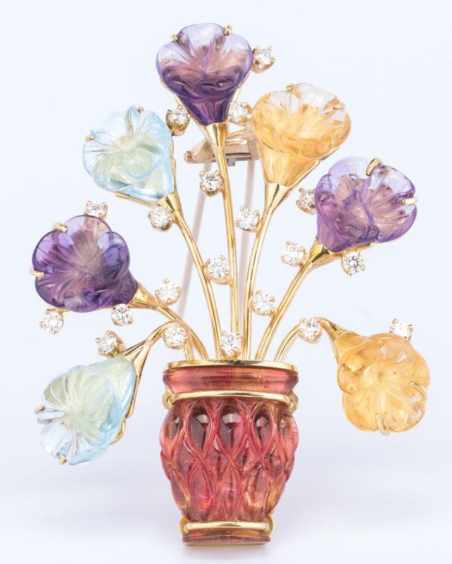 Lot 403: 18K Carved Gemstone Flower Brooch
