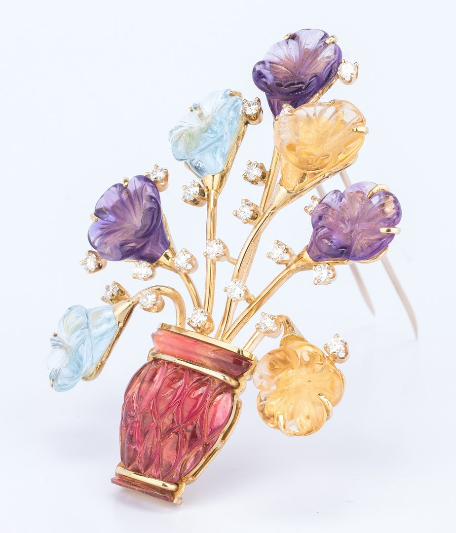 Lot 403: 18K Carved Gemstone Flower Brooch