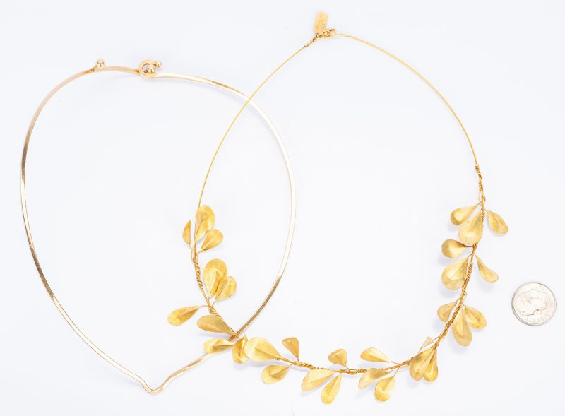 Lot 404: 2 Gold Designer Choker Necklaces