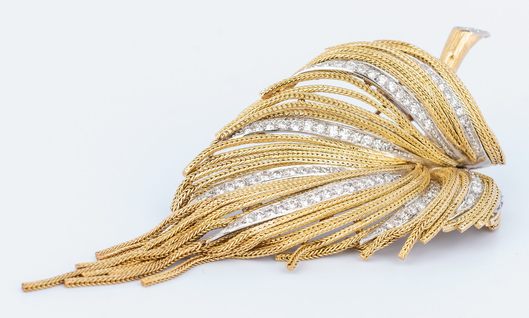 Lot 406: French 18K Diamond Fern Brooch