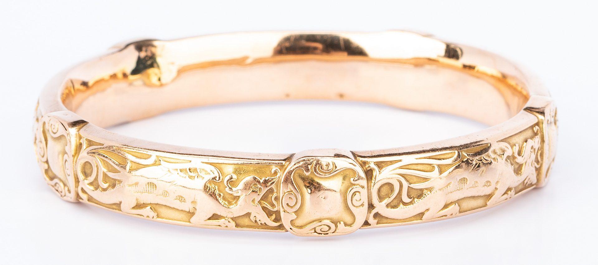 Lot 407: 3 Vintage 14K & 10K Bracelets inc. Dragon