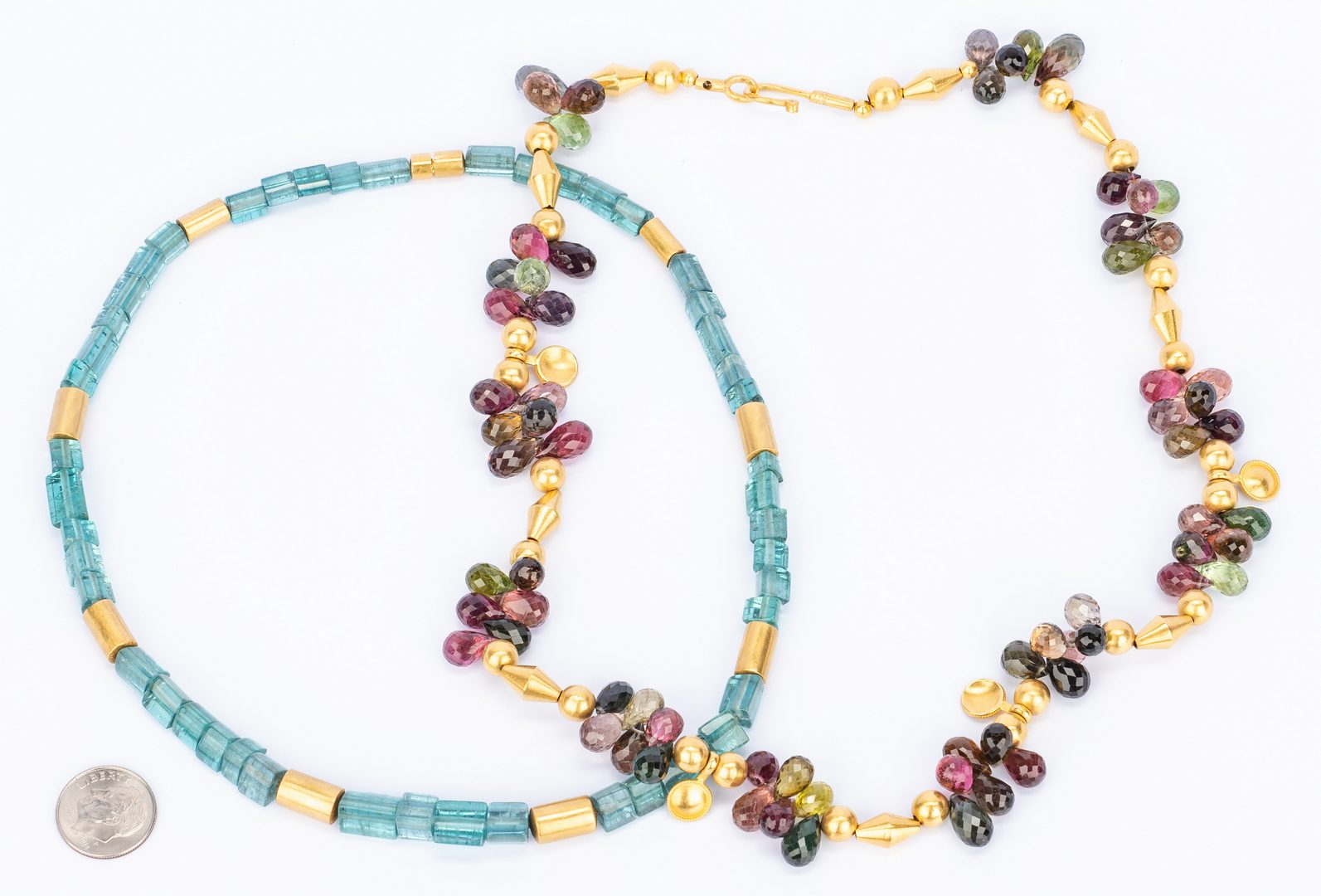 Lot 408: Two Gold and Gemstone Necklaces