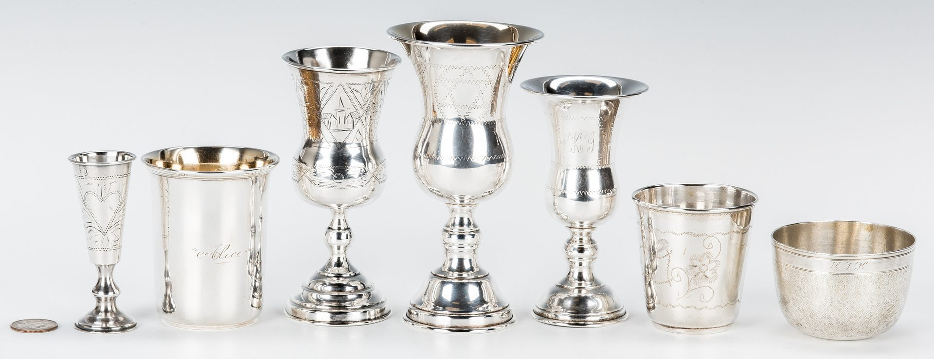 Lot 411: 7 goblets and cups incl. Russian Kiddush