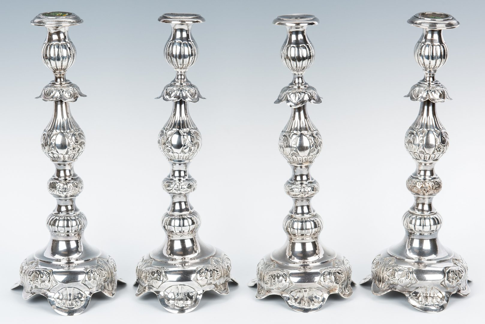 Lot 412: 4 Russian Baroque Style Silver Candlesticks