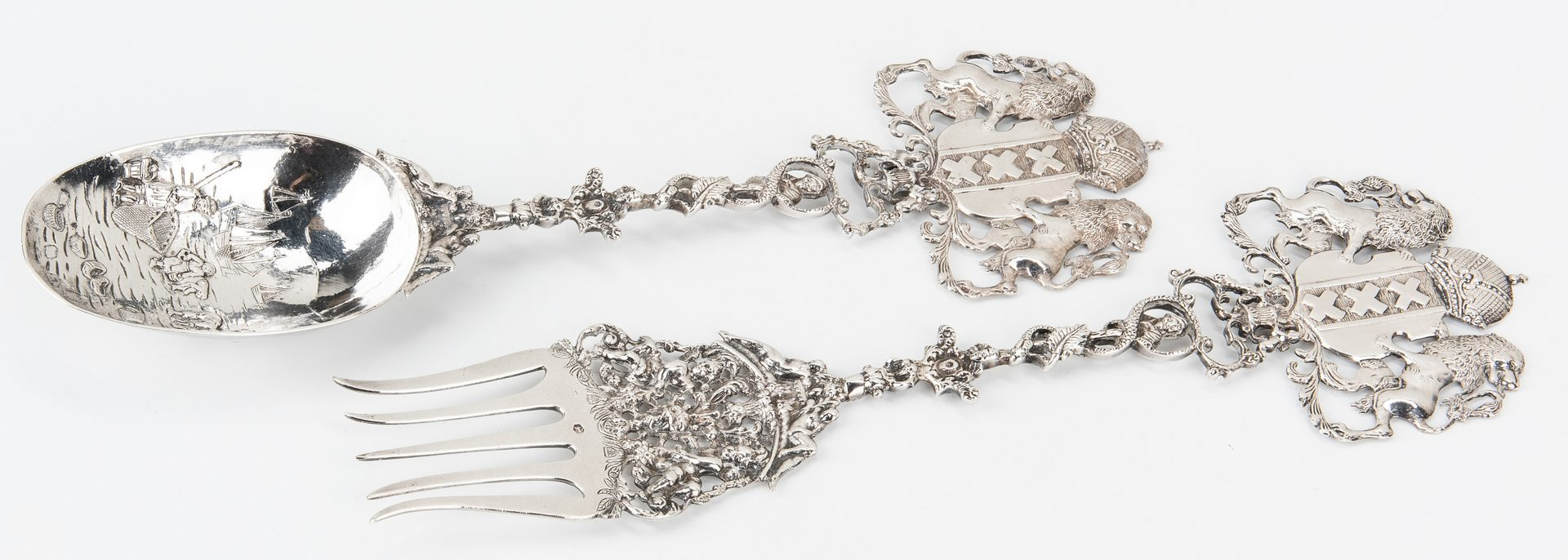 Lot 414: Continental silver flatware inc. Hanau, 15 pcs