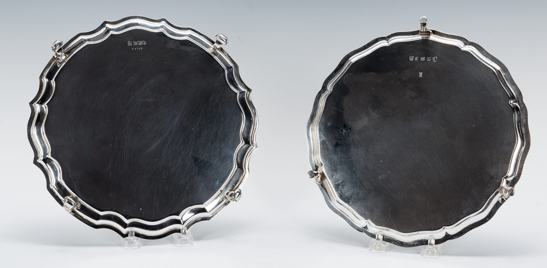 Lot 428: 2 English Sterling Silver Salvers