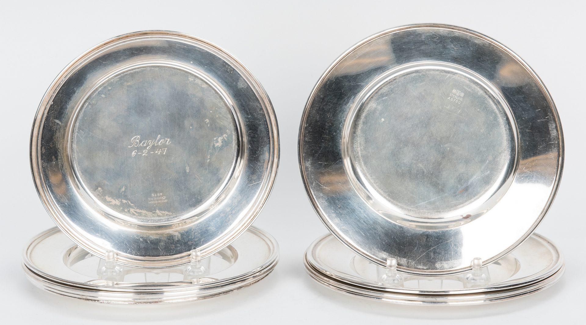 Lot 437: 8 Sterling Martini Glasses, 9 Bread Plates